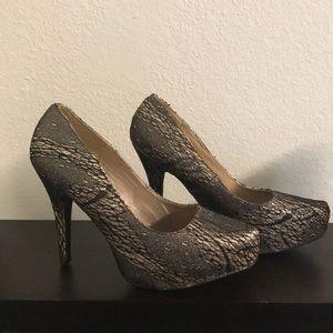 Black/Gold Torrid Heels (Size 11)